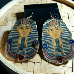 King Tut Hard pressed wood paper and laminated Accessories Earrings