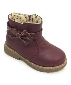 Burgundy Bow Boots