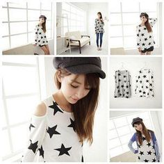 Cutout Shoulder Star Print Tee from #YesStyle <3 Maymaylu Dreams YesStyle.com