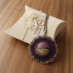 """18 Likes, 1 Comments - Handmade Jewelry Kvičke Kvačke (@kvickekvacke) on Instagram: """"Popular purple #necklace #handmade #wood #handpainted #purple #crochet #cottonyarn #filigree #gift…"""""""