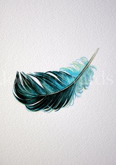 Floating Blue Feather - Nightly Study 428 - Original Watercolor. $35.00, via Etsy.