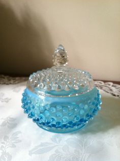 Fenton Blue Hobnail Powder Jar