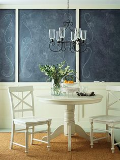 Love chalkboard walls- idea with the wainscoating
