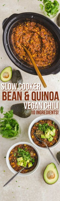 Slow Cooker Vegan Bean & Quinoa Chili #vegan #mealprep #slowcooker #plantbased