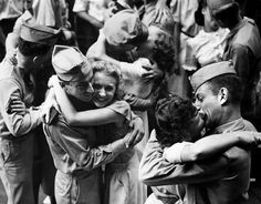 Women in WWII ~ Servicemen And Downtown Workers Embrace And Kiss In The Street As Word Of Surrender Flashed Through The Nation, 1945 ~ BFD