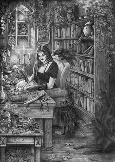 Witch tales by Aleksandra M. Kisiel aka Doberlady. Dog Illustration, Illustrations, Bastet, Witch Art, Witch Aesthetic, Gothic Art, Halloween Art, Book Of Shadows, Wiccan