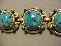 Chunky & Wide Glitter Green Blue Swirl Cabochon Bracelet with Green Rhinestones