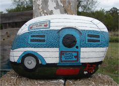 Vintage Travel Trailer RV hand-painted rock. Cute gift this holiday!