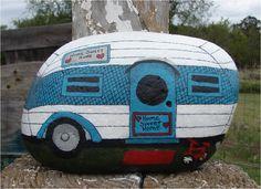 Vintage Travel Trailer RV hand-painted rock. $25.00, via Etsy.
