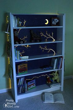 I promised to show you how I lit my son's bookcase. It really isn't anything fancy. But, a promise is a promise. Here is the view of the back of the bookcase: I purchased the LED rope lights at Home Depot. They came with little snap in holders. You simply drive a screw into the …