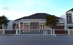 House Fence Design, Fence Gate Design, Modern House Design, Dream House Exterior, Dream House Plans, Type 45, Compound Wall Design, Asian House, Modern Bungalow House