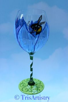 Hand Painted ~ Love in the Mist ~ Bumble Bee ~ Wine Glass ~ Hand Painted Stemware ~ Periwinkle ~ Green