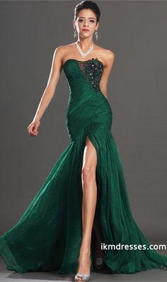 2015 Prom Dresses Mermaid/Trumpet Floor Length Green Strapless Chiffon Applique -Prom Dresses