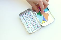 Delia Creates shares this great tutorial for keeping kids occupied during travel: magnetic tangram puzzles in a mints tin.