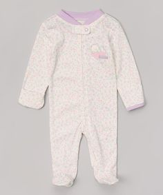 Vitamins Baby Ivy & Purple Sleeping Cutie Appliqué Footie | zulily