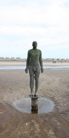 "Antony Gormley [UK] (b 1950) ~ ""ANOTHER PLACE"", 2005-2006. Cast iron. Installation view, Crosby, Merseyside, England. | #art #sculpture #figurative #installation #land_art #conceptual #iron"