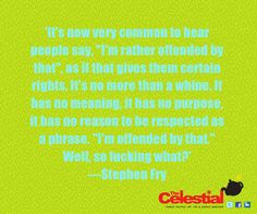 Stephen Fry #religion #atheism quote by The Celestial Teapot magazine. Get a free magazine at www.facebook.com/celestialtpot