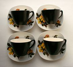 1950s Midwinter Stylecraft Fashion Tea / Coffee Cups and Saucers in the Magnolia Pattern. English tea set. Midwinter pottery. by gardenfullofVintage on Etsy