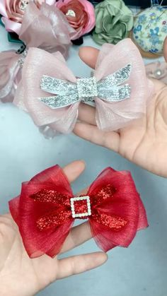 Ribbon Hair Bows, Diy Hair Bows, Diy Ribbon, Ribbon Crafts, Handmade Hair Bows, Hair Bows For Babies, Diy Hair Clips, Tulle Hair Bows, Lace Bows