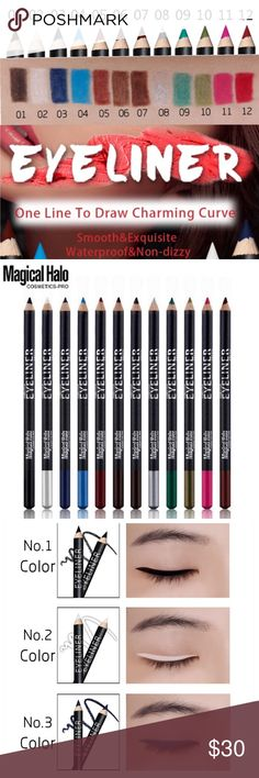 Eyeliner Pencils 12 Pack ( Host Pick ) Bright colors. Waterproof, Sweat Proof, Oil Proof. Eyeliner Pencil Core is soft and smooth. Easy to draw. Magical Halo Makeup Eyeliner