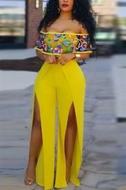 cd1e76e74f50 Bateau Neck Short Sleeves High Split Yellow Healthy Fabric One-piece  Jumpsuits