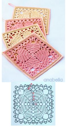 "Japanese crochet squares as coasters! Free pattern ""Japanese square crochet coasters: FREE pattern by Anabelia"" Crochet Motifs, Crochet Blocks, Granny Square Crochet Pattern, Crochet Squares, Thread Crochet, Crochet Crafts, Crochet Projects, Granny Squares, Crochet Coaster"