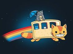 Totoro and cat bus, Nyan cat style