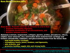 "BONE BROTH.  PALEO/PRIMAL/SCD/GAPS. This recipe is on Biome Onboard Awareness ""Bone Broth, Liver, and Curcumin"" board."