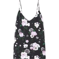 Equipment Layla floral-print washed-silk camisole (£110) ❤ liked on Polyvore featuring intimates, camis, tops, floral camisole, silk cami, floral cami, silk camisole and floral print cami