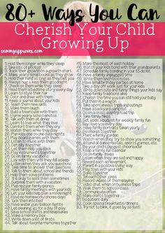 Ways You Can Cherish Your Child Growing Up : This printable list is so helpful for moms looking to make the most out of every moment their kids are growing. I love the simple ideas for making and cherishing those special memories with our kids that wil Gentle Parenting, Parenting Humor, Kids And Parenting, Parenting Hacks, Parenting Classes, Parenting Styles, Parenting Plan, Positive Parenting Solutions, Parenting Articles