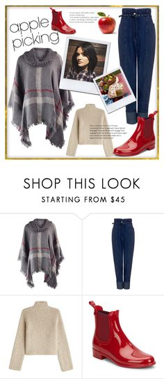 """""""Harvest Time: Apple Picking"""" by spencer-hastings-5 ❤ liked on Polyvore featuring Rachel Comey, Rosetta Getty, Igor, autumn, LucyHale, poncho and applepicking"""