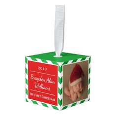 #stripes - #Baby's First Christmas Ornament | Red Green Stripe