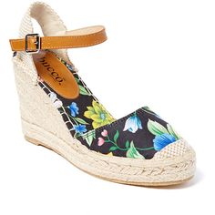 Bucco Black Floral Espadrille ($35) ❤ liked on Polyvore featuring shoes, sandals, floral wedge sandals, ankle strap wedge sandals, ankle strap sandals, platform sandals and wedges shoes