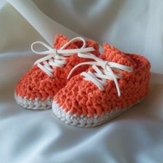 Orange Crossandra cotton baby booties/ shoes by TheFrenchHook, $14.50