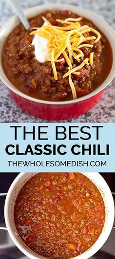 The Best Classic Chili – This traditional chili recipe is just like mom used to make with ground beef, beans, and a simple homemade blend of chili seasonings. via Amanda {The Wholesome Dish} The Best Classic Chili – This traditional chili recipe is just … Chilli Recipes, Healthy Recipes, Bean Recipes, Soup Recipes, Cooking Recipes, Recipes Dinner, Cooking Games, Fast Recipes, Chili Recipes With Beef