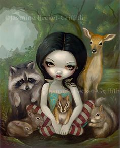 Snow White and Her Animal Friends fairytale princess fairy art print by Jasmine Becket-Griffith12x16 BIG on Etsy, $29.99