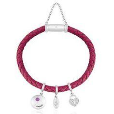 Pulseira Prata Couro Rosa e Zircônia Amor 18,5 cm - Life Wishes