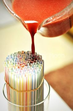 This is something fun you can do with the kiddos. Just take a bunch full of straws & a rubber band to put around the straws then make your jello mix to pour it over the straws to make Jellow Worms. Sweet! Now you have something to do in the summer when your kiddos are bored!