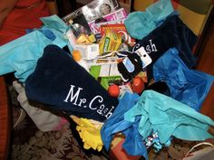 Honeymoon basket made by the best friends of the bride....HOW CUTE IS THS. New monograms and all!