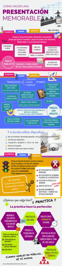 Cómo hacer una presentación memorable. Infografía. Be A Better Person, Digital Marketing, How To Memorize Things, Management, Social Media, Teaching, Writing, How To Plan, Education