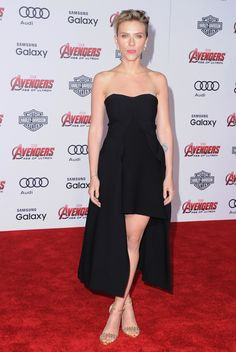 Scarlett Johansson wearing a Stella McCartney black Malia evening dress from the Winter '15 collection at 'The Avengers: Age of Ultron' premiere in Los Angeles. Photo courtesy of Getty Images.