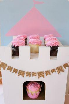 Cupcakes atop a Drawbridge Cupcake Stand from a Princess Birthday Party via Kara's Party Ideas | KarasPartyIdeas.com (16)