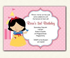 Snow White Birthday Invitation PRINTABLE - DIY Princess Birthday Party for Girls with Castle on Etsy, $14.00