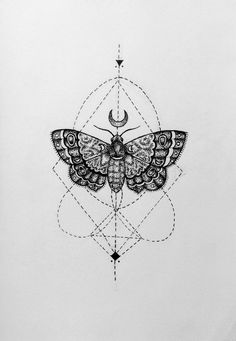 Moth tattoo. Geometric tattoo. Black tattoo