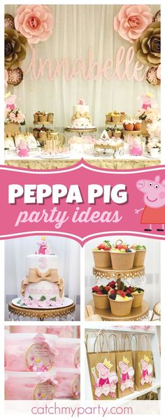 Don't miss this pretty Vintage Peppa Pig birthday party! The dessert table is adorable! See more party ideas and share yours at CatchMYParty.com #catchmyparty #partyideas #peppapigbirthdayparty #vintagebirthdayparty