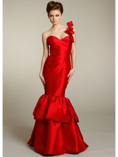 Mermaid One Shoulder Floor Length/ Long Red Satin Bridesmaid / Evening / Prom / Formal / Wedding Party Dresses 2301206