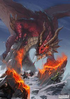 m Adult Dragon vs Party of 3 Mountain Pass trail battle story lg Fantasy, Dragon Artwork Fantasy, Fantasy Art, Red Dragon, Fantasy Images, Fantasy Creatures, Dragon Pictures, Fantasy Monster, Fantasy Dragon