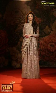 Beauty queen Amruta Patki's BBB look. The astonishing sabyasachi gown and makeup by lakme has given the picture perfect reception look.#weddings celebrity style