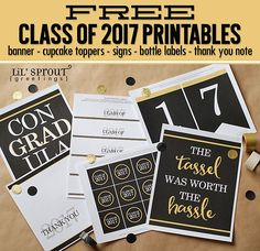 Free Class of 2017 Graduation Printables by Lil' Sprout Greetings - banner, signs, thank you note, water bottle labels, cupcake toppers
