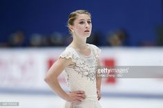 Miller Hannah of United States reacts after the perform in the Ladies Short Program on day two of Audi Cup of China ISU Grand Prix of Figure Skating 2015 at Beijing Capital Gymnasium on November 7,...